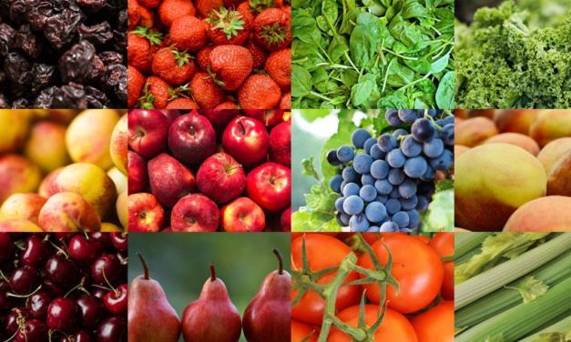 Frutas e vegetais com maiores teores de pesticidas